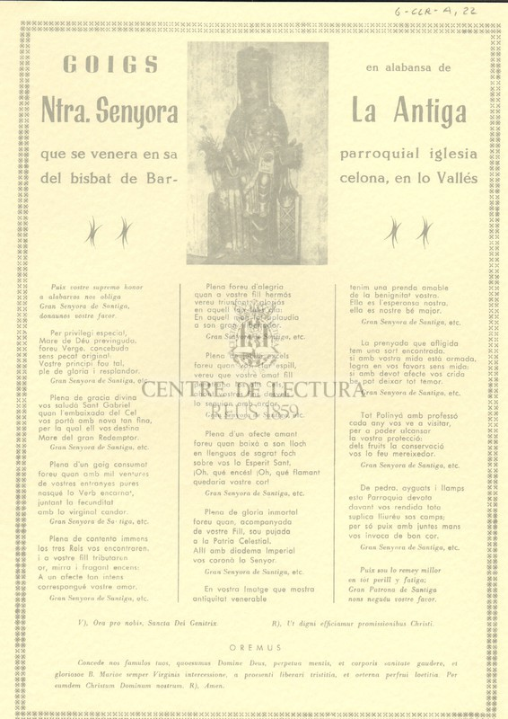 Goigs en alabansa de Ntra. Senyora La Antiga que se venera en sa parroquial iglesia del bisbat de Barcelona, en lo Vallés