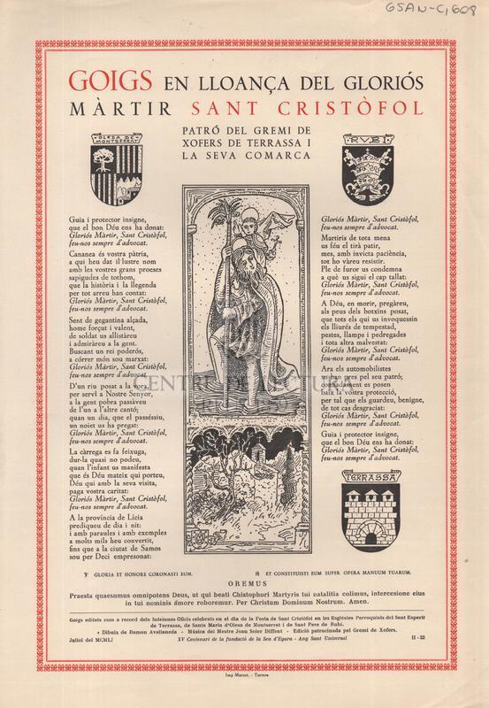 Goigs en lloança del gloriós màrtir Sant Cristòfol patró del Gremi de Xofers de Terrassa i la seva Comarca