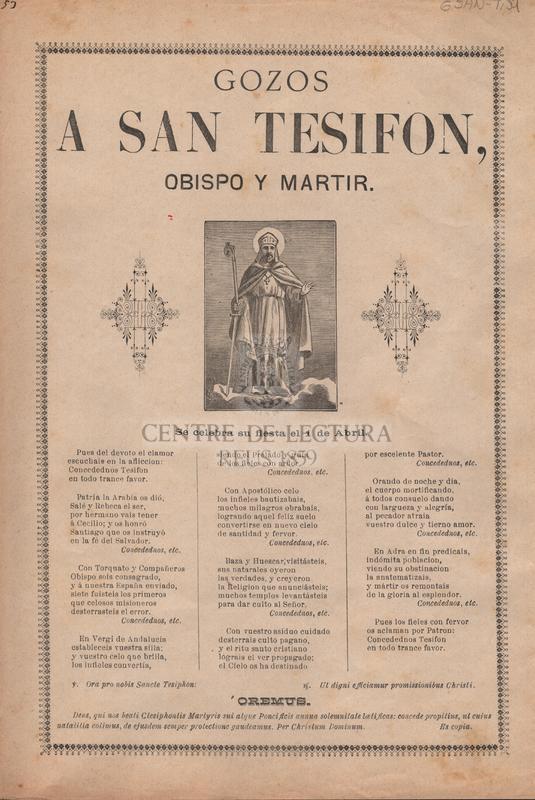 Gozos a San Tesifon, obispo y martir