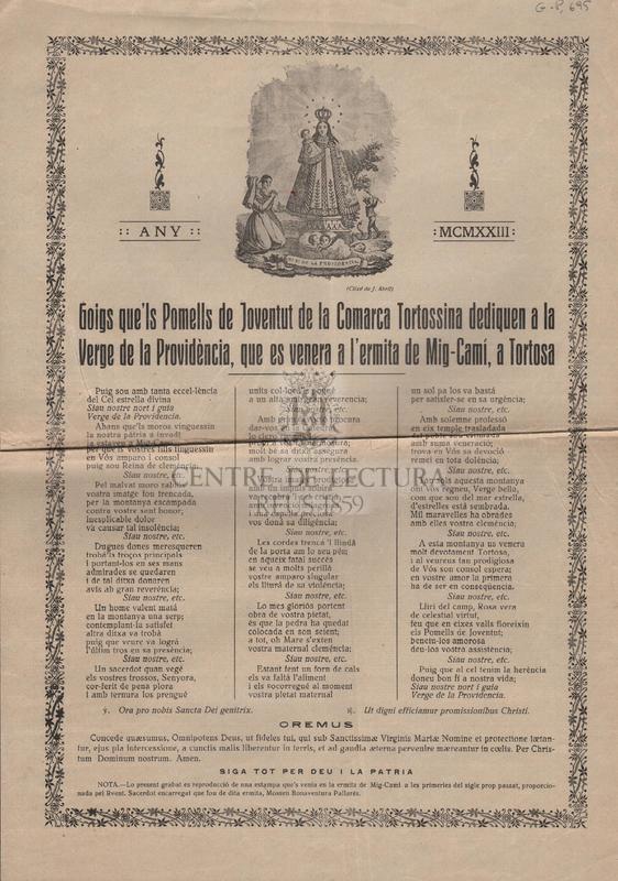 Goigs que'ls Pomells de Joventut de la Comarca Tortossina dediquen a la Verge de la Providència, que es venera a l'ermita de Mig-Camí, a Tortosa.