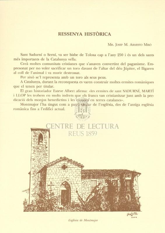 Goigs a Sant Sadurní bisbe i màrtir venerat a la seva parròquia de Montmajor (El Berguedà) Bisbat de Solsona