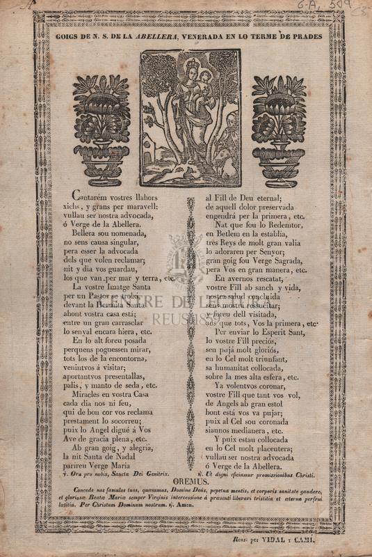 Goigs de N. S. de la Abellera, venerada en lo terme de Prades