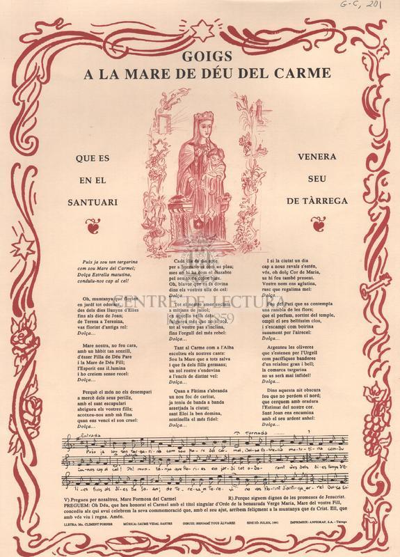 Goigs a la Mare de Déu del Carme que es venera en el santuari de Tàrrega.