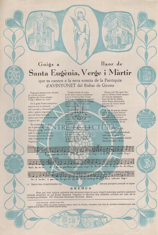 Goigs a llaor de Santa Eugènia, Verge i Màrtir, que es canten a a seva ermita de la Parròquia d'Avinyonet del Bisbat de Girona