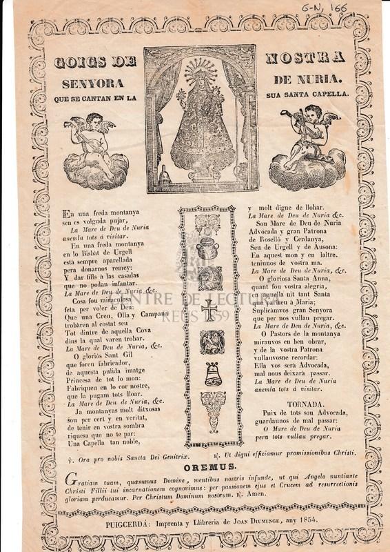 Goigs de nostra senyora de Nuria que se cantan en la sua santa capella