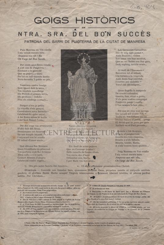 Goigs històrics de Ntra. Sra. del Bon Succés patrona del barri de Puigterrà de la ciutat de Manresa