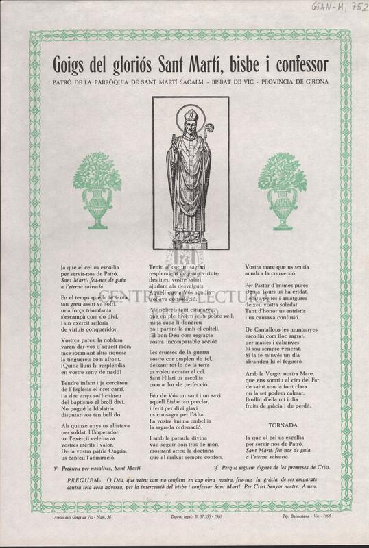 Goigs del gloriós Sant Martí, bisbe i confessor. Patró de la parròquia de Sant Martí Sacalm, bisbat de Vic, provincia de Girona