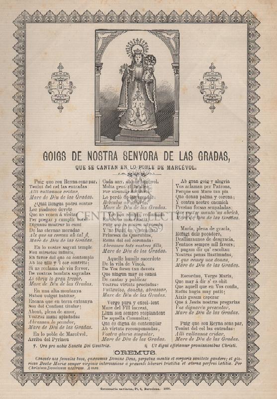 Goigs de Nostra Senyora de las Gradas que se cantan en lo poble de de Marcèvol