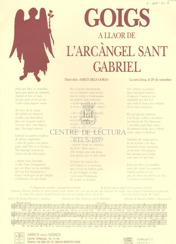 Goigs a llaor de l'Arcàngel Sant Gabriel, patró dels Amics dels Goigs