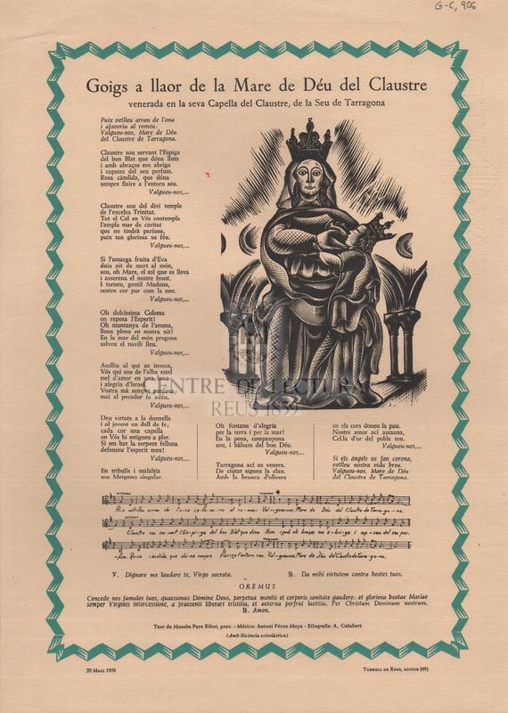 Goigs a llaor de la Mare de Déu del Claustre venerada en la seva Capella del Claustre, de la Seu de Tarragona.