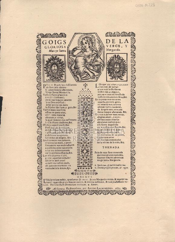 Goigs de la gloriosa verge, y Martyr Santa Margarida.