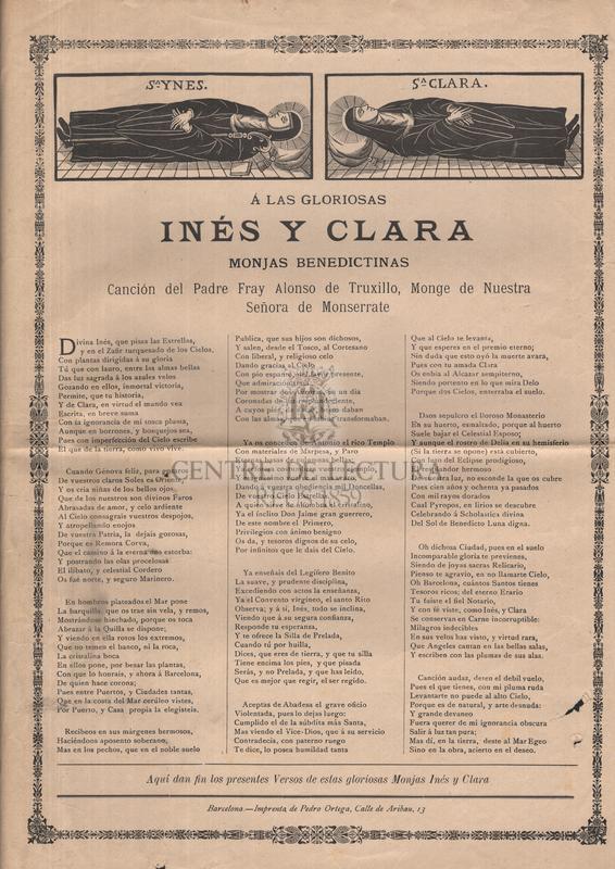 Á las gloriosas Inés y Clara monjas benedictinas, Canción del Padre Fray Alonso de Truxillo, Monge de Nuestra Seóra de Monserrate