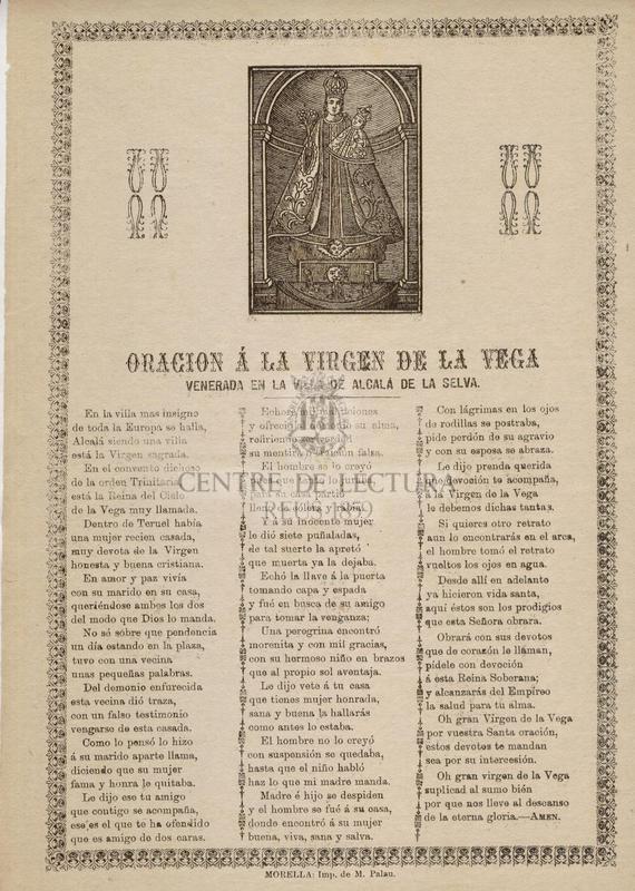 Oracion á la Virgen de la Vega venerada en la Villa de Alcalá de la Selva
