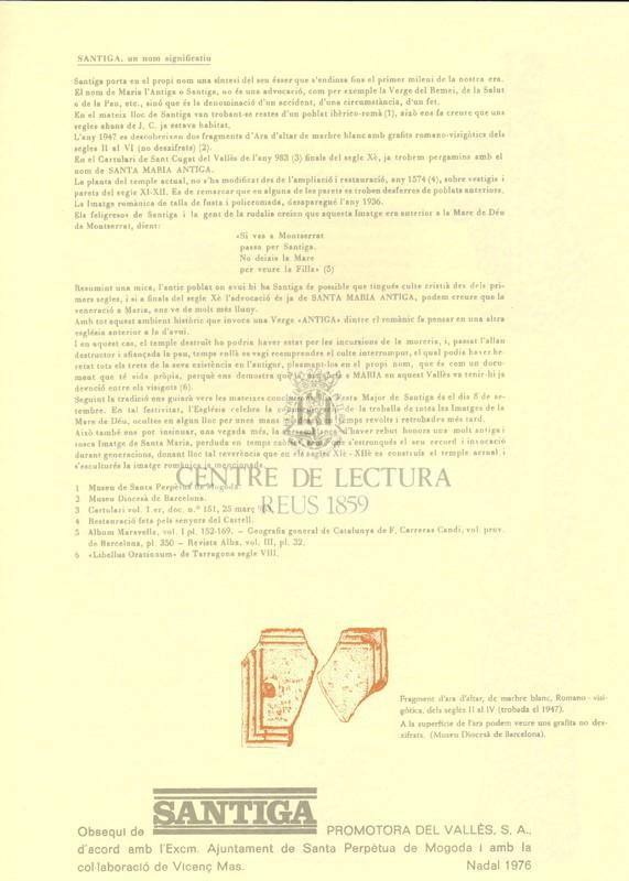 Goigs en lloança de Ntra. Sra. L'Antiga que es venera a la seva església de Santiga, de Santa Perpètua de Mogoda, en el Vallès
