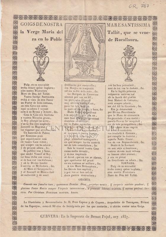 Goigs de Nostra Maresantissima la Verge Maria del Tallat, que se venera en lo Poble de Rocallaura