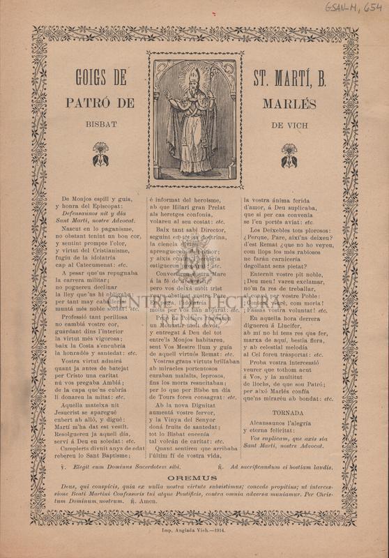 Goigs de St. Martí, B. Patró de Marlés. Bisbat de Vich
