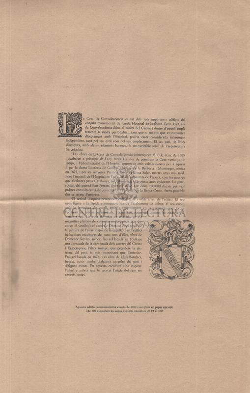 Goigs a llaor de Sant Pau, Apòstol que es venera a la Capella de l'Antiga casa de convalescència avui de la Biblioteca Central de la Diputació Provincial de Barcelona