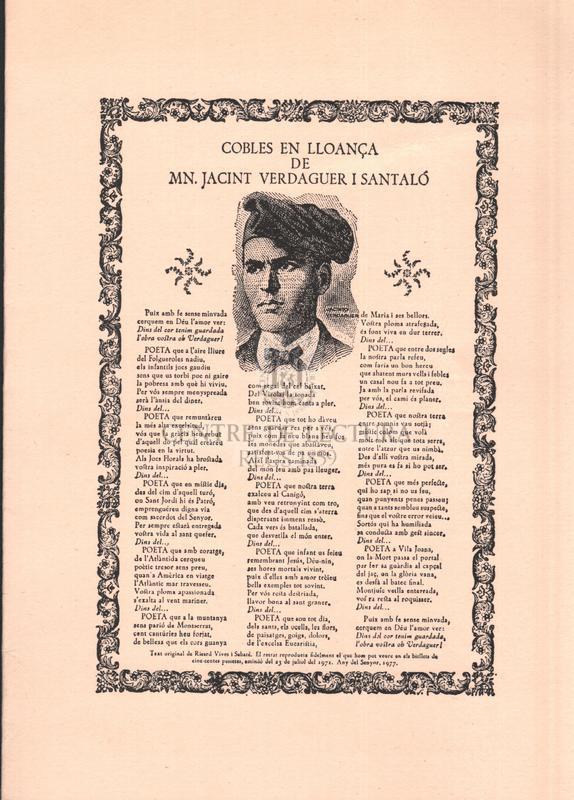 Cobles en lloança de Mn. Jacint Verdaguer i Santaló