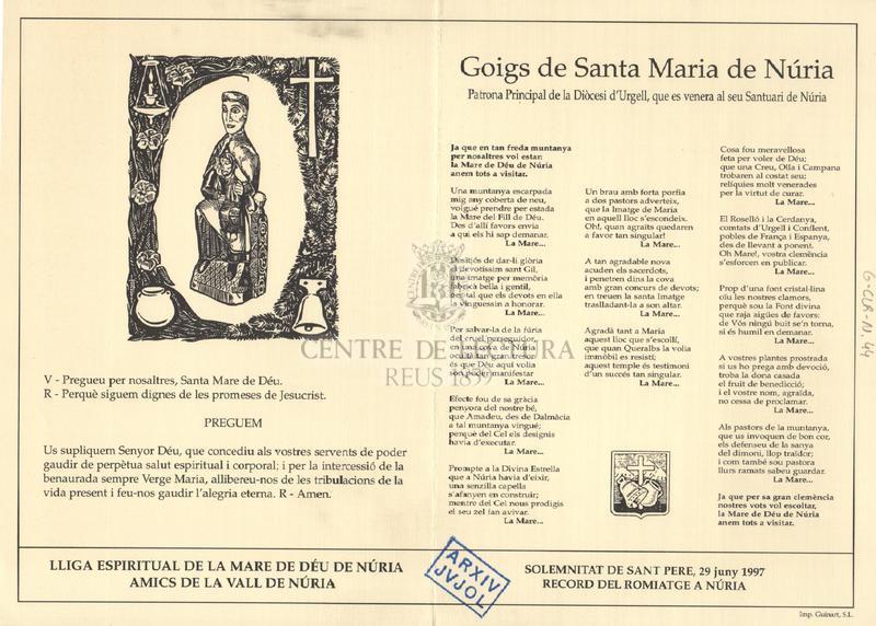 Goigs de Santa Maria de Núria, patrona principal de la Diòcesi d'Urgell, que es venera al seu Santuari de Núria