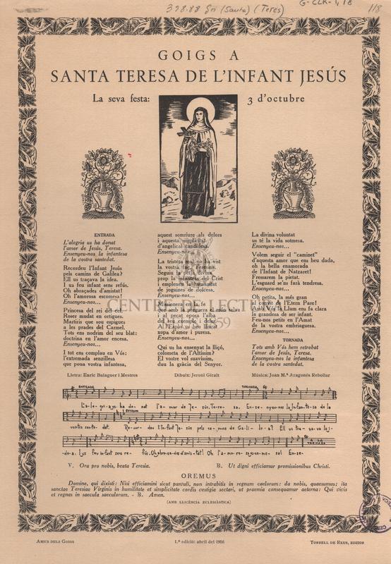 Goigs a Santa Teresa de l'Infant Jesús.