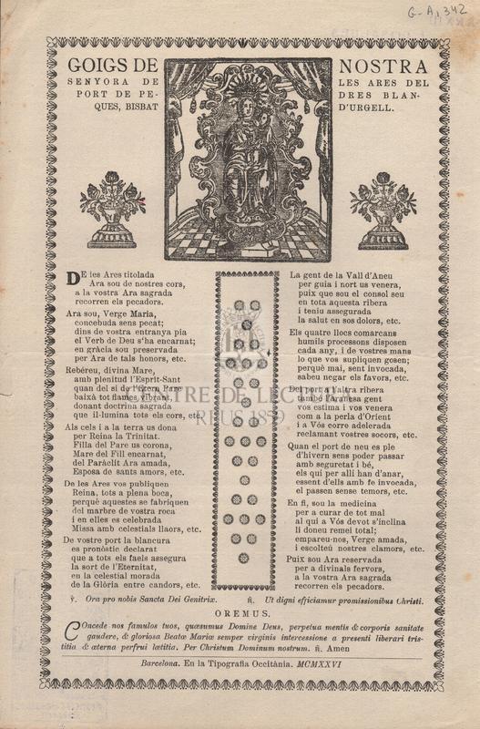 Goigs de Nostra Senyora de les Ares del port de Pedres Blanques, bisbat d'Urgell