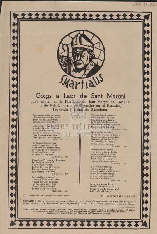 Goigs a llaor de Sant Marçal que's canten en la Parròquia de Sant Marçal de Castellet o de Rubió, terme de Castellet en el Penedès, Provincia i Bisbat de Barcelona