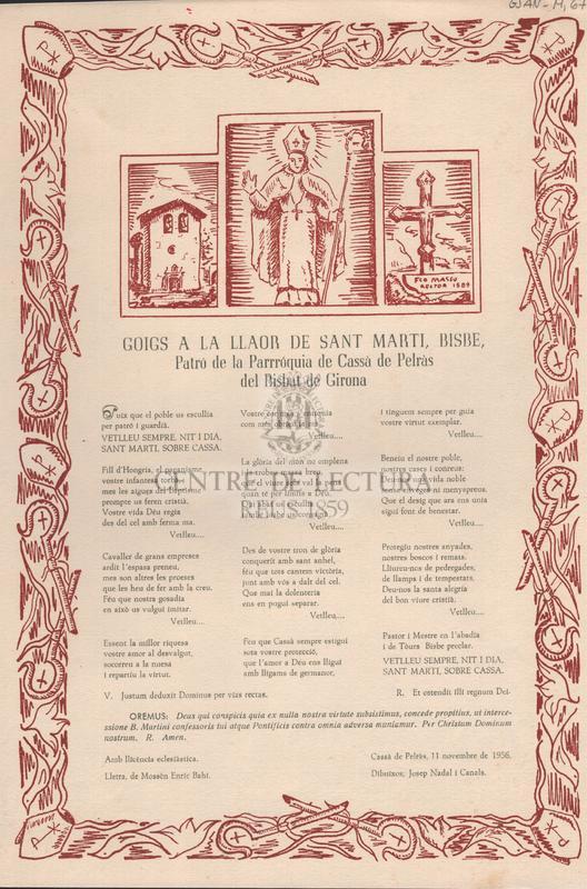 Goigs a la llaor de Sant Marti, Bisbe, Patró de la Parròquia de Cassà de Pelràs del Bisbat de Girona