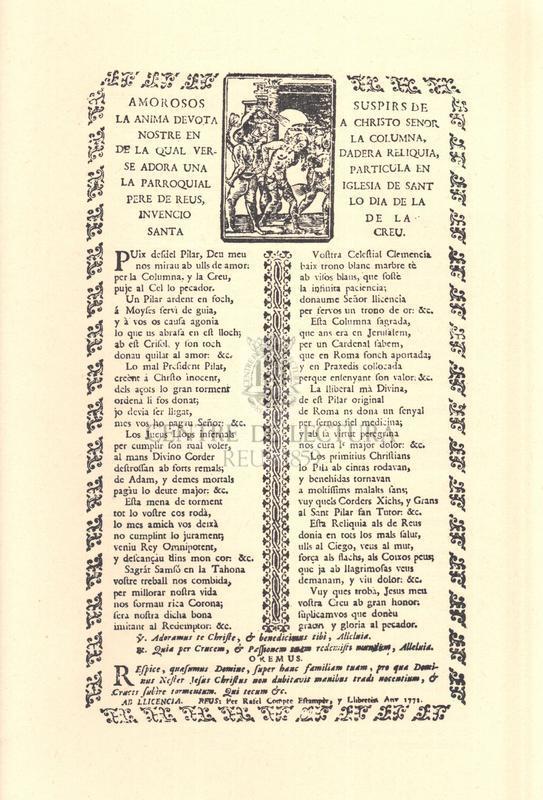 Amorosos suspirs de la ánima devota a Christo Senor nostre en la columna, de la qual verdadera reliquia, se adora una partícula en la parroquial iglesia de Sant Pere de Reus, lo dia de la invenció de la Santa Creu