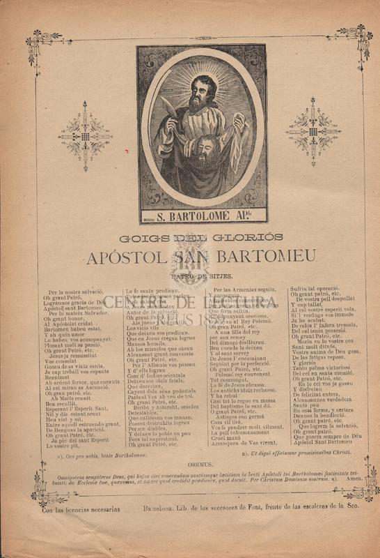 Goigs del gloriós Apóstol San Bartomeu. Patró de Sitjes