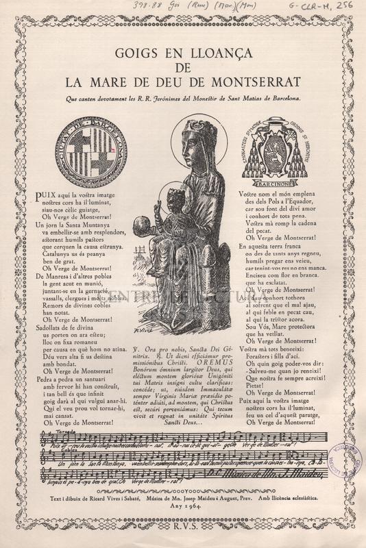 Goigs en lloança de la Mare de Deu de Montserrat que canten devotament les R.R. Jerónimes del Monestir de Sant Matias de Barcelona.