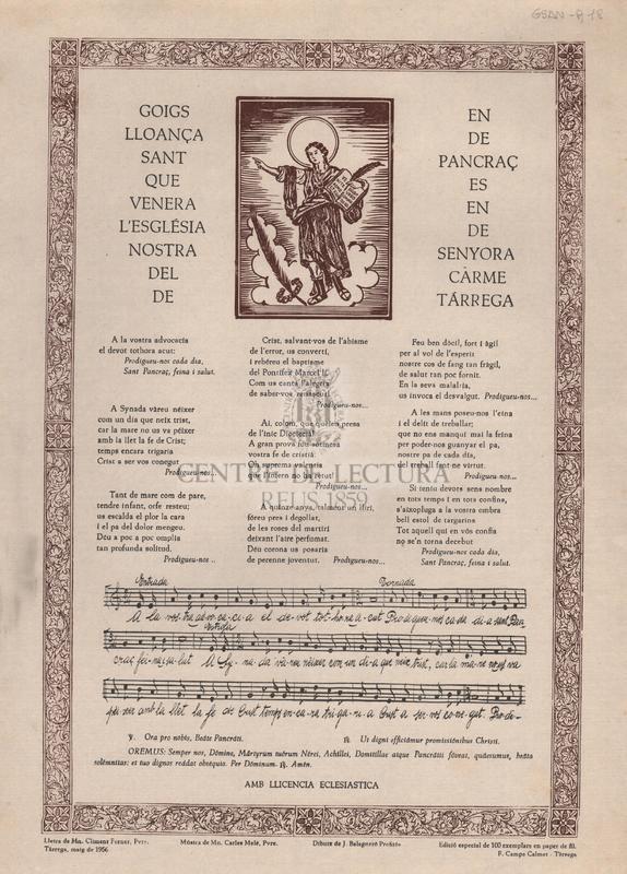 Goigs en lloança de Sant Pancraç que es venera en l'església de Nostra Senyora del Carme de Tárrega.