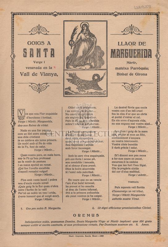 Goigs a llaor de Santa Marguerida Verge i Màrtir, venerada en la mateixa Parròquia; Vall de Vianya, Bisbat de Girona