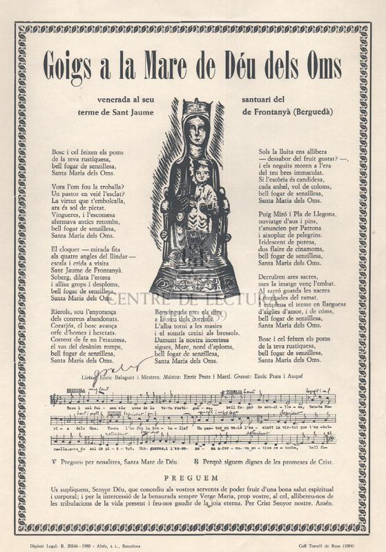 Goigs a la Mare de Déu dels Oms venerada al seu santuari del terme de Sant Jaume de Frontanyà (Berguedà)