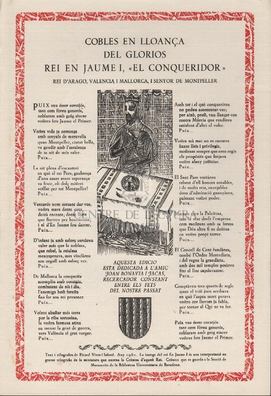 """Cobles en lloança del Glorios rei en Jaume I, """"El Conqueridor"""" rei d'Arago, Valencia i Mallorca, i Senyor de Montpeller."""