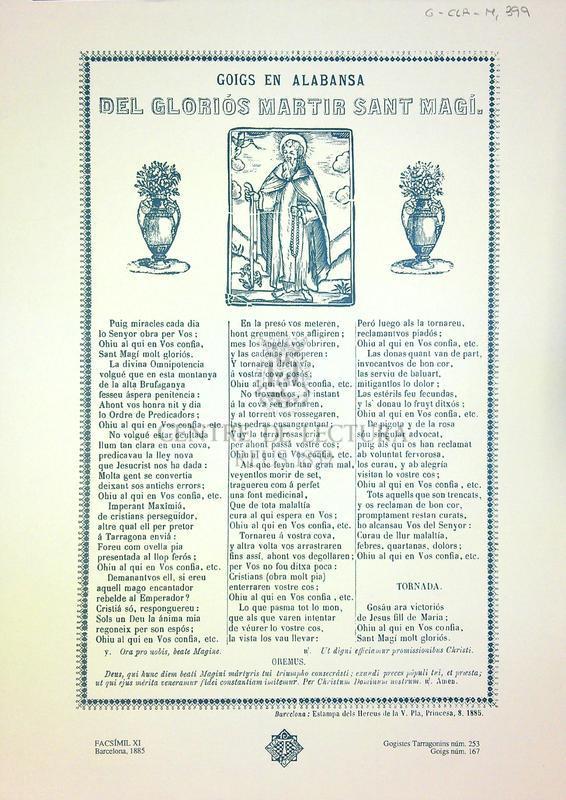 Goigs en alabansa del gloriós martir Sant Magí