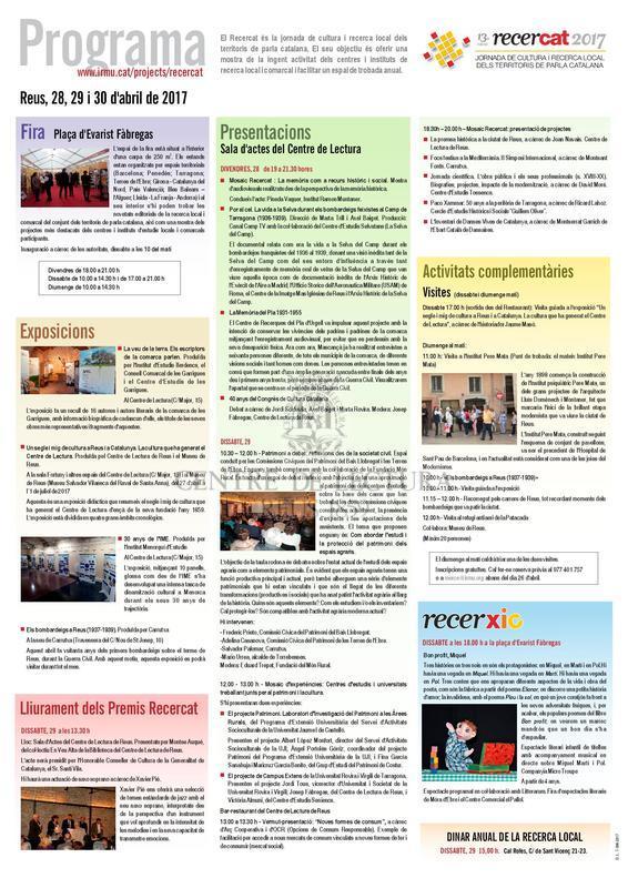 13a edició recercat. Jornades de cultura i recerca local. Reus, 28, 29 i 30 d'abril de 2017