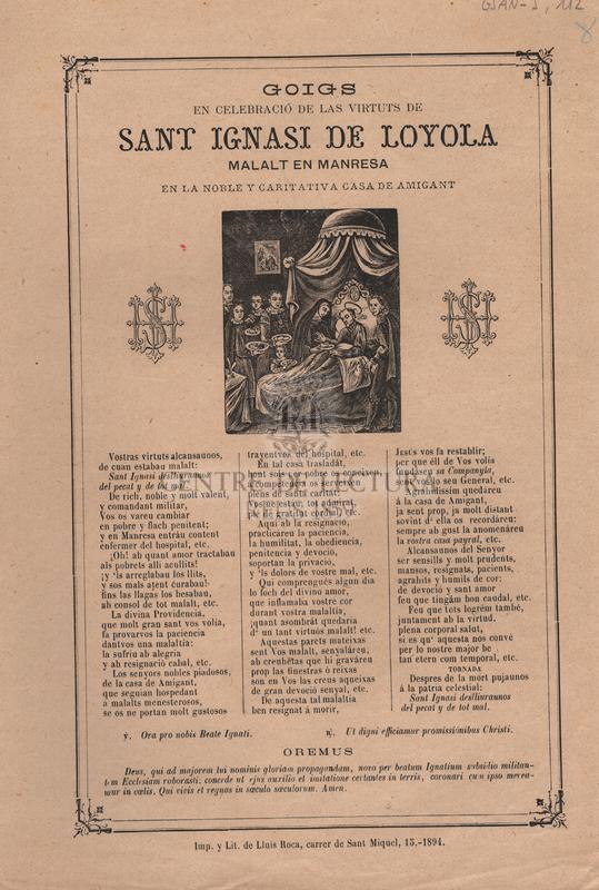 Goigs en celebració de las virtuts de Sant Ignasi de Loyola, malalt en Manresa en la noble y caritativa casa de Amigant