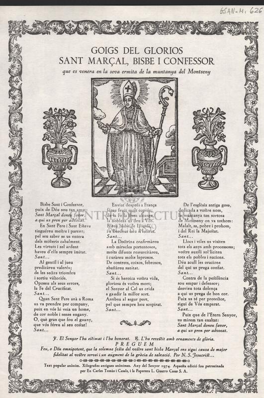 Goigs del glorios Sant Marçal, bisbe i confessor, que es venera en la seva ermita de la muntanya del Montseny