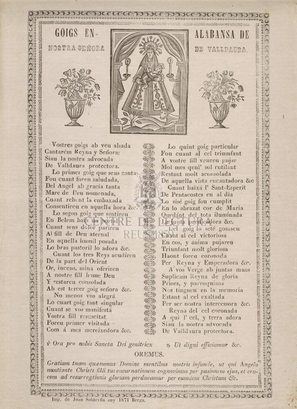 Goigs en alabansa de Nostra Señora de Valldaura