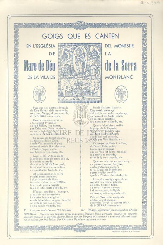 Goigs que es canten en l'Església del Monestir de la Mare de Déu de la Serra de la Vila de Montblanc