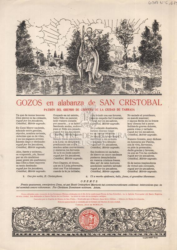 Gozos en alabanza de San Cristobal patron del Gremio de Chofers de la ciudad de Tarrasa