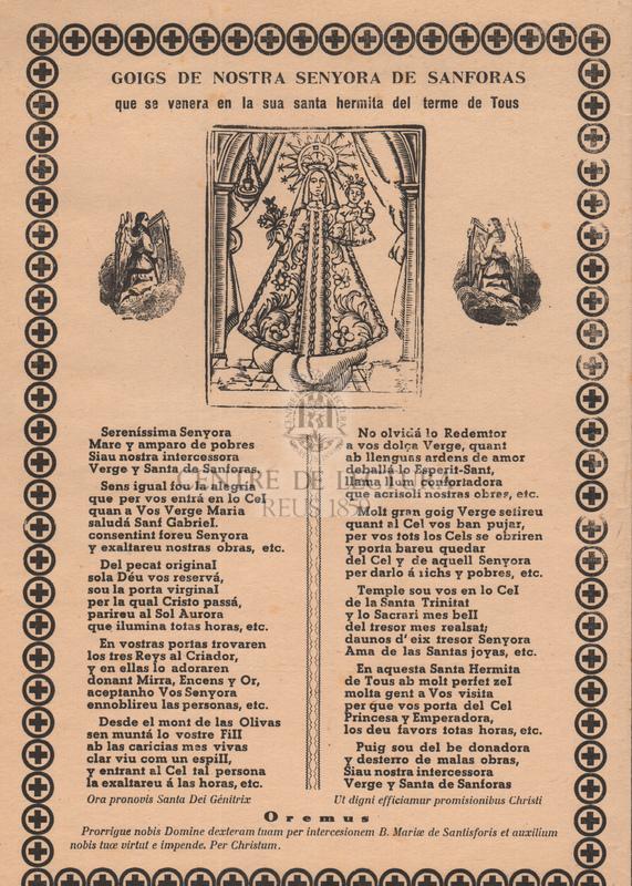 Goigs de Nostra Senyora de Sanforas que es venera en la sua santa hermita del terme de Tous.