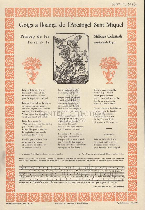 Goigs a lloança de l'Arcàngel Sant Miquel príncep de les milícies celestials patró de la parròquia de Rupit