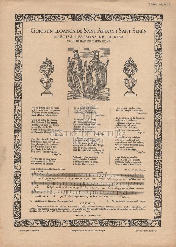 Goigs en lloança de Sant Abdon i Sant Senén màrtirs i patrons de la Riba arquebisbat de Tarragona.