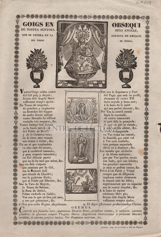 Goigs en obsequi de Nostra Senyora dels Angels, que se venera en la Hermita de Recolta del terme de Besalú