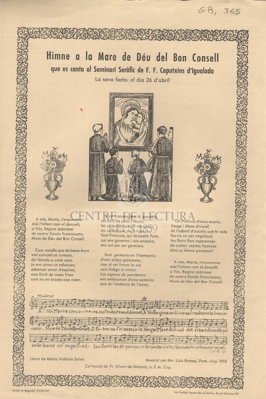Himne a la Mare de Déu del Bon Consell que es canta al Seminari Seràfic de F.F. Caputxins d'Igualada. La seva festa: el dia 26 d'abril