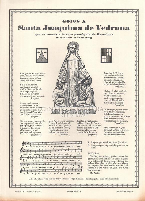 Goigs a Santa Joaquima de Vedruna que es venera a la seva parròquia de Barcelona, la seva festa el 22 de maig