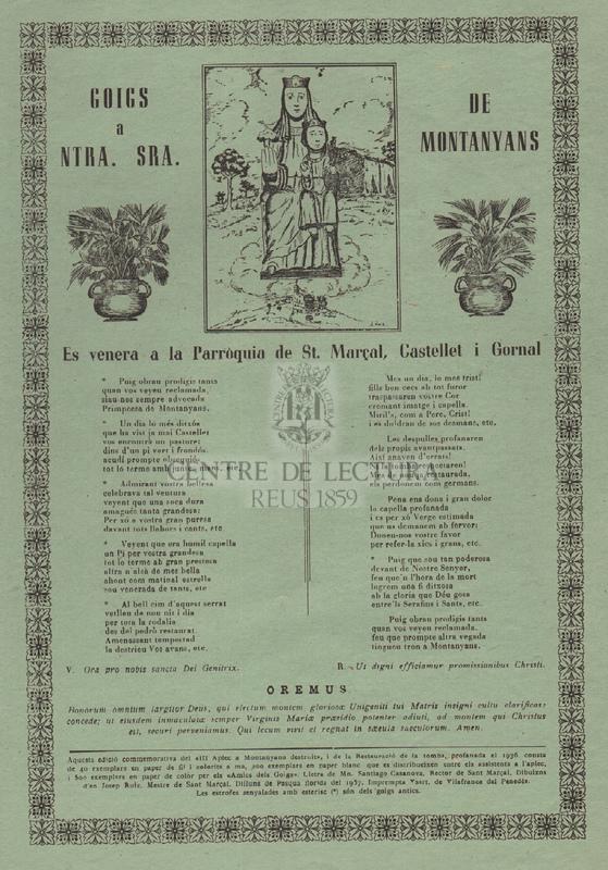 Goigs a Ntra. Sra. de Montanyans. Es venera a la Parròquia de St. Marçal, Castellet i Gornal