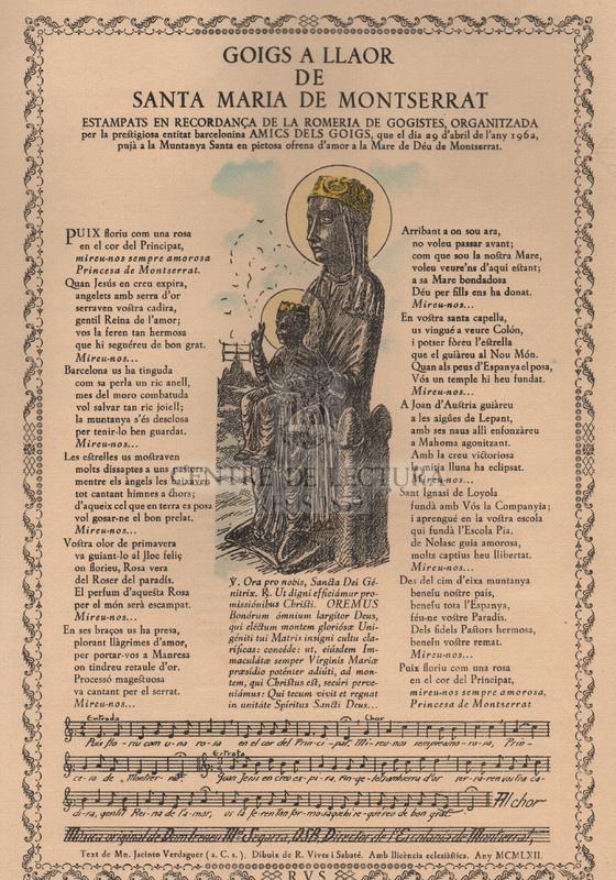 Goigs a llaor de Santa Maria de Montserrat.