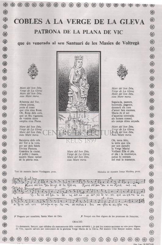 Cobles a la Verge de la Gleva Patrona de la Plana de Vic que és venerada al seu Santuari de les Masies de Voltregà